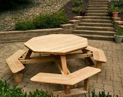 Furniture, Hexagon Table Picnic Table Plans With Separate Benches Walk In  Convertible Park Bench Picnic