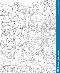 Adult Coloring Bookpage A Cute Nature Landscape Image For Relaxing