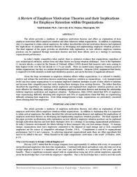 sunil ramlall review of employee motivation theories journal of  a review of employee motivation theories and their implications for employee retention in organizations sunil ramlall ph d university of st thomas