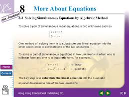 8 3 solving simultaneous equations by algebraic method