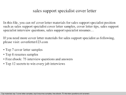 sales support specialist cover letter cover letter for it support