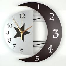 Marvelous Creative Large Wooden Silent Quartz Wall Clock Star Moon 3d WALL CLOCKS  Living Room Bedroom Home ...