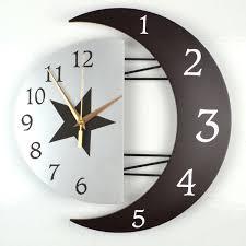 Marvelous Creative Large Wooden Silent Quartz Wall Clock Star Moon 3d WALL CLOCKS  Living Room Bedroom Home ...