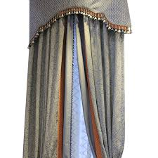 custom made blue natural cotton linen curtains american country style jointed curtains living room eco
