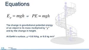 equations the change in gravitational potential energy of an object is its mass multiplied by g