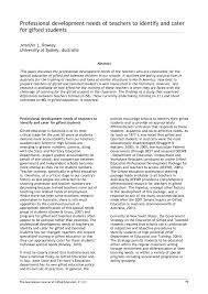 professional development needs of teachers to identify and cater for gifted students australasian journal of gifted education 21 2 75 80