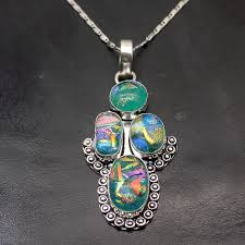 fashion jewelry vintage rainbow dichroic glass pendant 925 sterling silver necklace pendant 2 3 4