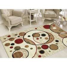 clifton collection modern circles design beige 8 ft x 10 ft area rug