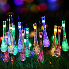solar outdoor string lights 20ft 30 led water drop solar string fairy waterproof lights lights solar powered string lights for ga