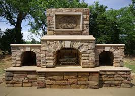 image of outdoor stone fireplace kits designs