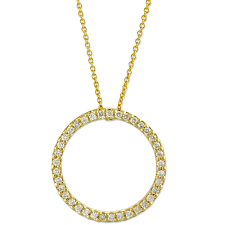 roberto coin 18k yellow gold diamond circle of life pendant necklace 0 26cttw