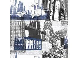 Fresco New York Wallpaper 104631 Blue/Black