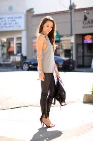 hapatime is wearing sunlight tank from friends leather leggings from pacsun backpack