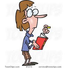 cartoon skinny female teacher holding a book and chalk 1275 by ron leishman