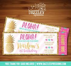 Hawaiian Pool Party Invitations Printable Gold Pineapple And Luau Birthday Invitation Pink Mint