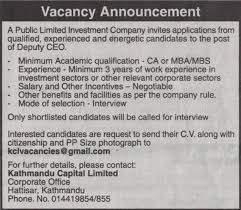 Jobs Nepal Deputy Ceo Vacancy Kathmandu Capital Limited