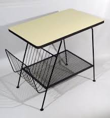 Mid century modern side table hairpin leg w/ magazine storage ...