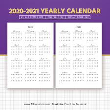 2020 Printable Calendar Yearly 2020 2021 Yearly Calendar Year At A Glance Printable Calendar Best Planner Planner Printable Planner Inserts Planner Template Filofax A5 A4