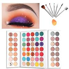 amazon beauty glazed 63 pop colors eyeshadow palettes matte and shimmer blendable eye shadow powder make up waterproof eye shadow palette with make up