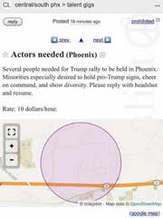 Support At Trump Craigslist Mystery For Rally Ad Phoenix Offers Pay