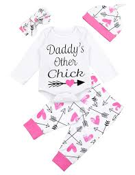 Valentines Outfits Newborn Baby Girl Daddys Other Chick Romper Arrow Heart Pants Hat Headband Clothes Set White