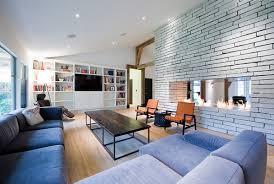 living room design tv fireplace. elongated double-sided fireplace living room design tv