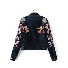 new 2019 fashion velvet cropped jacket womens fl embroidery er