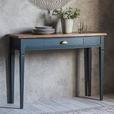 blue console table. Solid Wooden Console Table With Handy Drawer Finished In A Blue-grey Paint Blue .