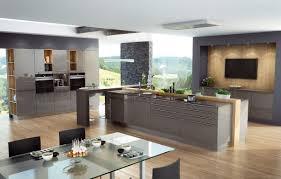 Küche Hochglanz grau Fronten Lack Küchenfronten glänzend