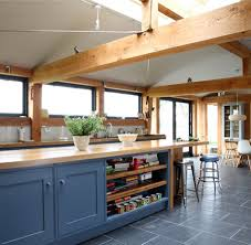 painted blue kitchen cabinets house: kitchen framehouse kitchen with shaker style kitchen cabinet with solid oak materials plus painted blue grey color also laminate wood countertop with
