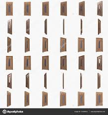 wood door with glass insert and iron bars 3d stock photo