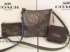 Coach Madison 43833 Jewel Leather Silver Foil Embossed Swingpack   Wristlet