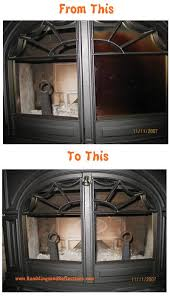 before and after wood stove glass door cleaning