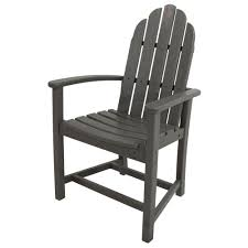 polywood classic slate grey adirondack all weather plastic outdoor dining chair