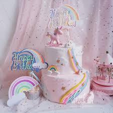 Pink Blue Biling Rainbow Cloud Unicorn Happy Birthday Cake Topper
