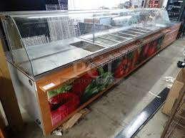 duke subway 20 foot sandwich prep line w stainless steel countertops and undershelves 6 cold wells 1 hot well 4 cup paper plastic cup dispensers