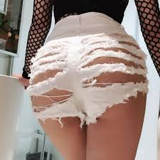 White Sexy Club Short Jeans Women Ass Hole Jeans Denim Short For Women High    Shopee Singapore