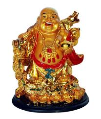 Odishabazaar Vastu Feng Shui Golden Laughing Buddha Showpiece