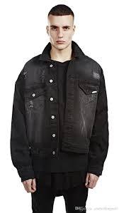 rockstar style represent black denim jacket ripped design drop shoulder oversized streetwear jean biker jacket fur collar jean jacket from asiabeddingmall