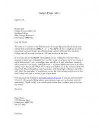 Cover Letter Cover Letter For Admin Assistant Sample Cover Letter