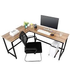 Light Oak Corner Computer Desk Corner L Shaped Table Wooden Computer Desk Workstation Light Walnut Brown