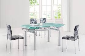 Modern Glass Dining Table Glass Top Modern Dining Table W Extension Leaf Options