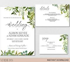 Diy Invitation Template Rustic Wedding Invitation Template Greenery Watercolor