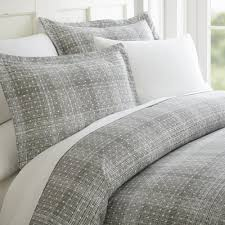 becky cameron polka dot patterned performance gray queen 3 piece duvet cover set