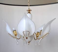 manufacturer unknown large vintage glass and polished brass chandelier with five heavy murano glass leaves