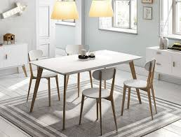 modern white dining table. contemporary dining table in semi matt white with oak wood opt chairs thumbnail modern t