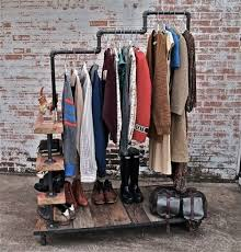 Rolling Coat Rack With Shelf Industrial Home Decor DIY Rolling Clothes Rack Shoe Shelves Brick 38