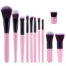 cosmetic 11 pcs nylon face eye lip makeup brushes set in pink