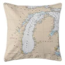 Island Girl Great Lakes Lake Michigan Nautical Chart Pillow