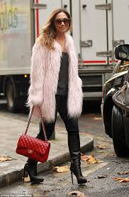 are you faux real myleene klass stepped out in a divine faux fur pink coat
